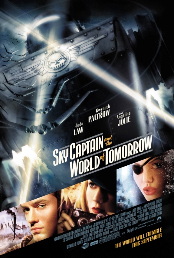 ジュード・ロウ、グウィネス・バルトロウ、アンジェリーナ・ジョリー出演『スカイキャプテン ワールド・オブ・トゥモロー(原題: Sky Captain and the World of Tomorrow)』ポスター画像