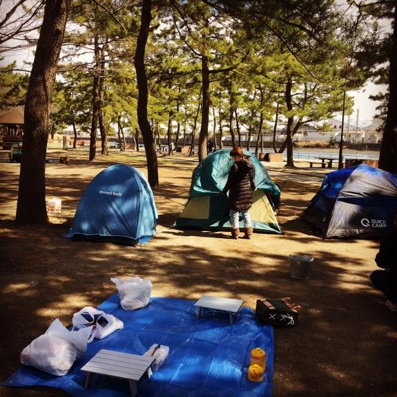 まだ寒かった!リトルカブで3月の野島公園キャンプ